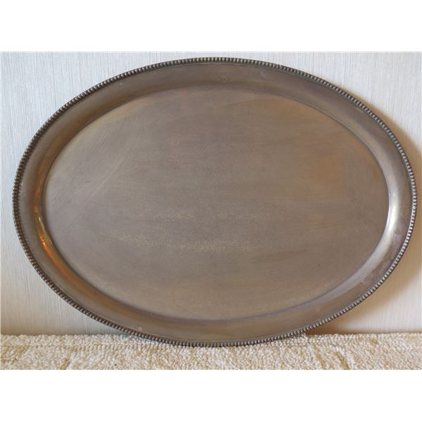"Oval Serving Platter w/ Raised Edge, Marked ""Sterling Silver"" 17""x12"""