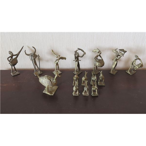 """Qty 15 Metal Figurines: 8 Playing Instruments 3.5""""H & 7 Birds 2""""H"""