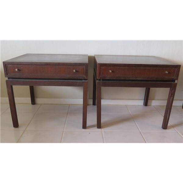 "Qty 2 Wooden Side Tables w/ Single Drawer 23.5""x20""x21""H"