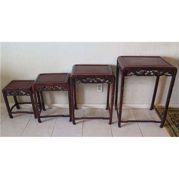 "Qty 4 Wooden Nesting Tables w/ Carved Dragon Design & Round Edges to 28""H"