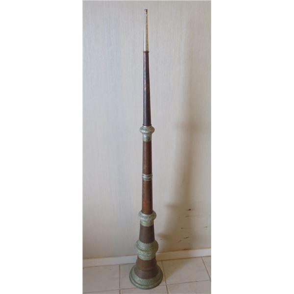 "Tall Horn w/ Etched Metal Ornamentation 9"" Dia, 65""L"