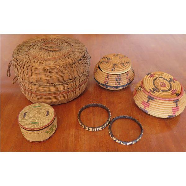 "Qty 4 Woven Baskets w/ Lids & 2 Woven Rings - Largest 7.5"" Diameter x 5""H"