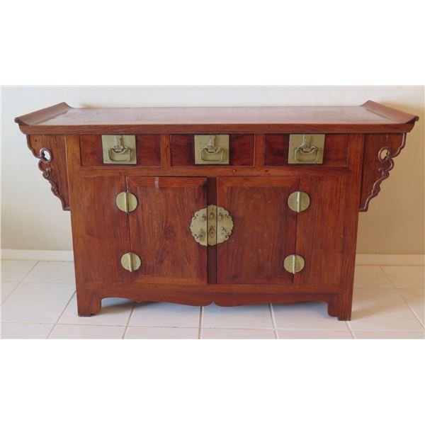 """Wooden Entry Cabinet Table w/ Curved Edges, 2 Doors & Metal Hardware 57""""x18""""x33"""""""