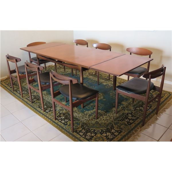 """G Plan Design Signed Wooden Table w/ 2 Sections 96""""x35""""x28""""  & 8 Wood Chairs"""