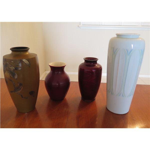 "Qty 4 Decorative Vases: Etched Metal, Red Ceramic, Rose Design & 12"" White"