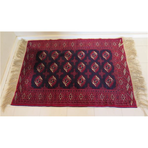 """Large Red Area Rug w/ Abstract Design & Fringed Edges 57""""x43"""""""