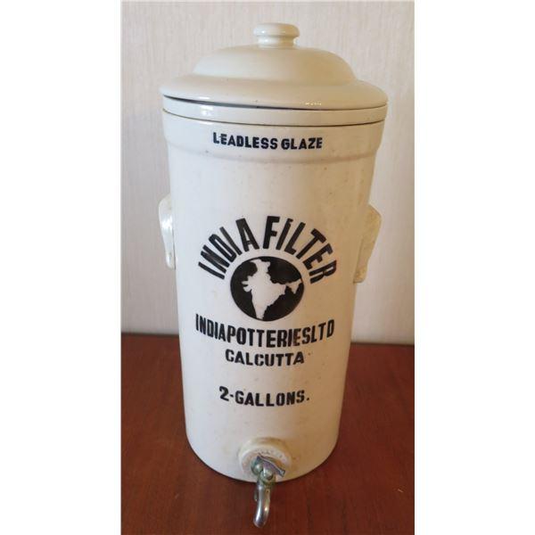 "India Potteries Ltd Leadless Glaze India Filter 2 Gallons w/ Lid & Spout 20""H"
