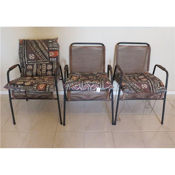"Qty 3 Metal-Frame Patio Chairs 20""D x 31""H"
