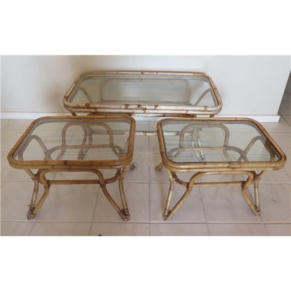 """Qty 2 Wicker Bamboo End Tables w/ Glass Tops 23""""x22""""x18"""" & Coffee Table 40""""L"""