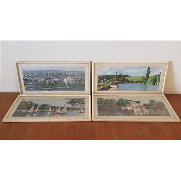 """Qty 4 Framed Photographic Images - Sailboats, Rivers, etc 20""""x9.5"""""""