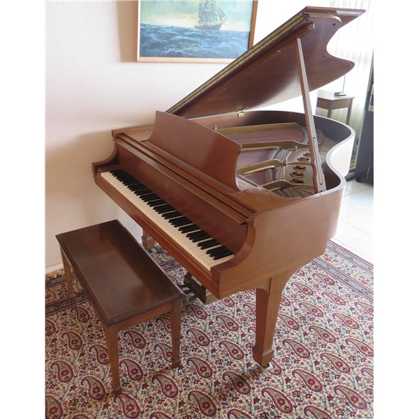 Steinway & Sons Wooden Grand Piano 1973W w/ Killeen Piano Bench
