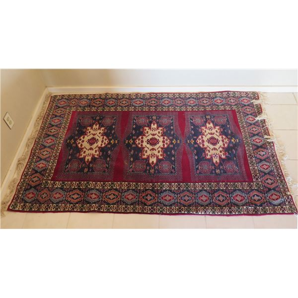 """Large Red Blue Area Rug w/ Abstract Design & Fringed Edges 78""""x50"""""""