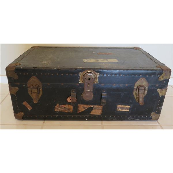 "Vintage Black Steamer Trunk w/ Metal Hardware & Travel Stamps 31""x18""x12"""