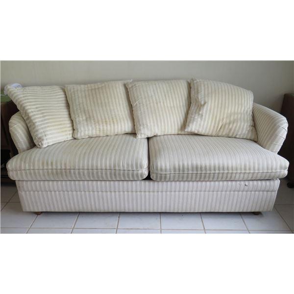 Striped 2 Seat Sofa Sleeper Bed w/ 4 Matching Pillows & King Down Mattress