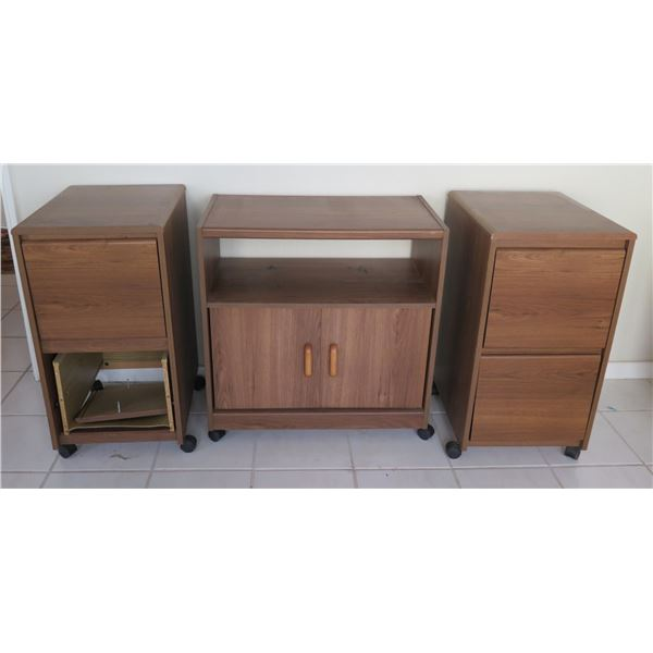 O'Sullivan Wood Rolling TV/VCR Cart w/ 2 Door Cabinet & 2 Rolling File Drawers