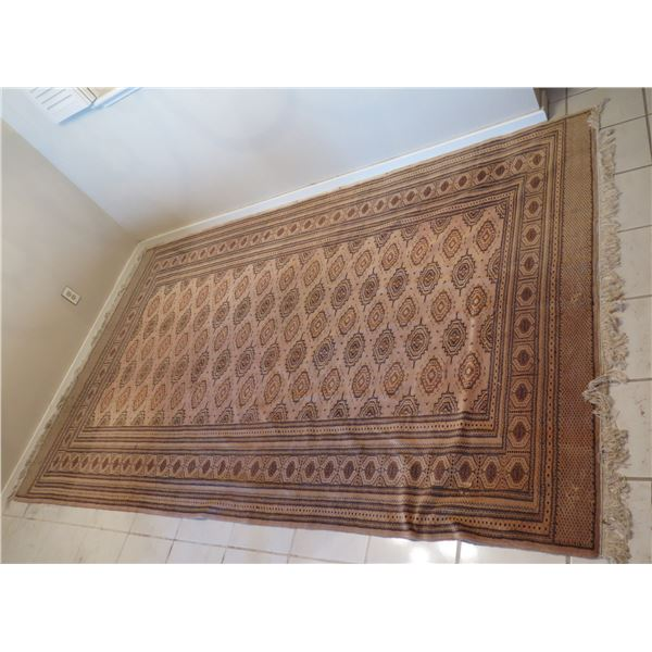 """Very Large Red Tan Area Rug w/ Floral Design & Fringed Edges 121""""x76"""""""