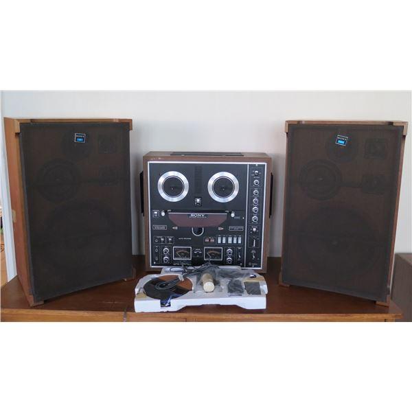 Sony Three Motor Servo Control System Tapecorder TC-730 w/ 2 Speakers SS-7300