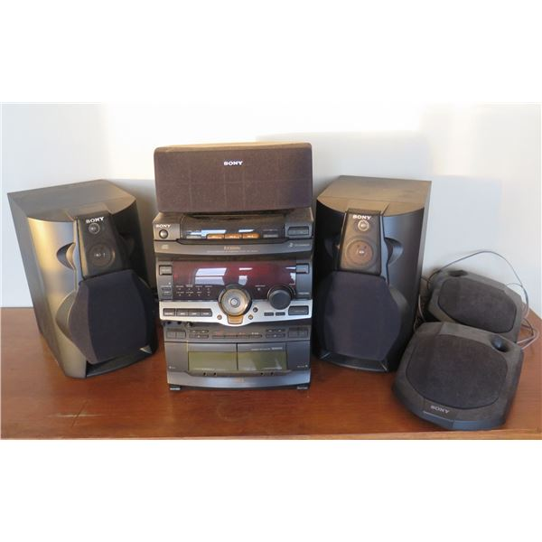 Sony Stereo System SS-CN101 w/ Dual Cassette & 2 Speakers SS-L100V
