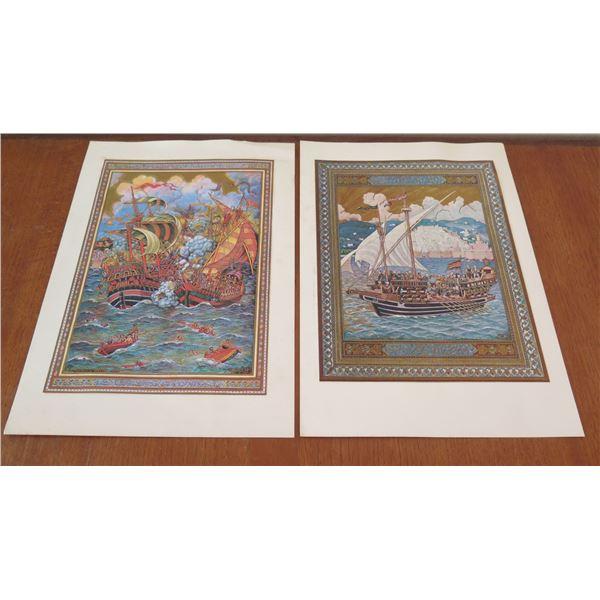 """Qty 2 Sailing Scene Art on Paper 9""""x12"""""""