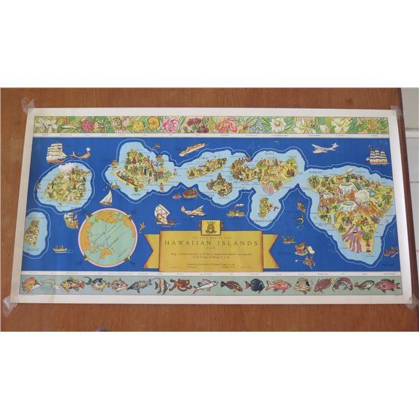 """Vintage 'The Dole Map of the Hawaiian Islands' Copyright 1937 in 21"""" Tube"""