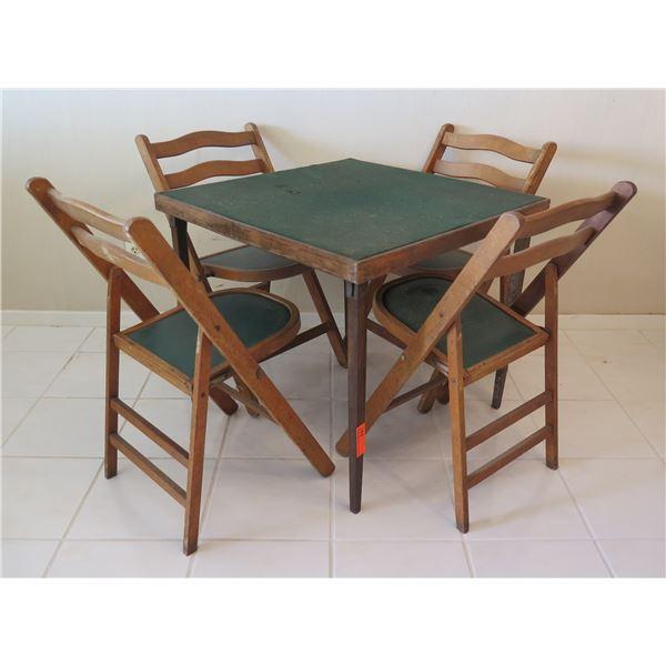 "Far-East Ltd Folding 30""D Wooden Card Table & 4 Folding Wooden Chairs 36""H"