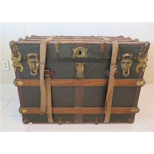 "Monson Trunk Factory Chest w/ Metal Hardware & Wooden Banding 34""x20"""