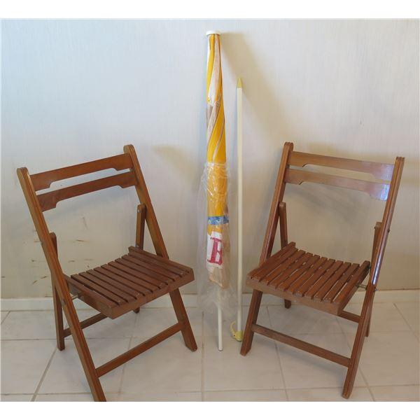 "Qty 2 Wooden Folding Chairs 34""H w/ Slatted Seats & Beach Umbrella"