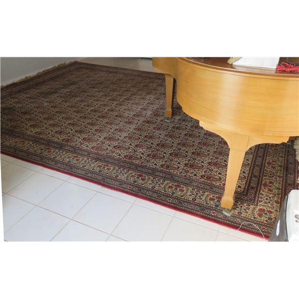 """Very Large Keshan-Super Red Blue Area Rug w/ Abstract Design & Fringed Edges 162""""x120"""""""