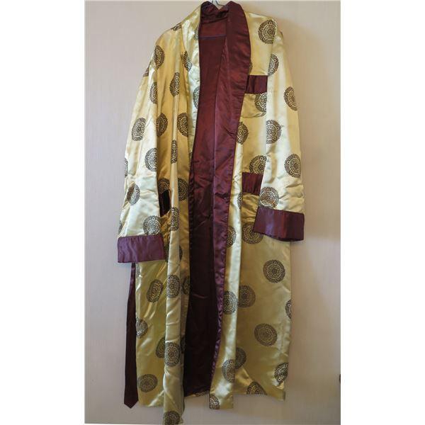 Vintage Gold Burgundy Kimono w/ Asian Design