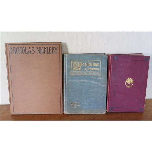 Vintage Books: 'Nicholas Nickleby', 'Civil War' & 'Tennyson Poetical Works' 1905