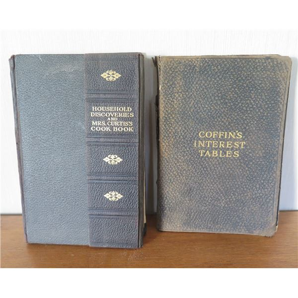 Vintage Books: 'Household Discoveries' 1908 & 'Coffin's Interest Tables' 1914