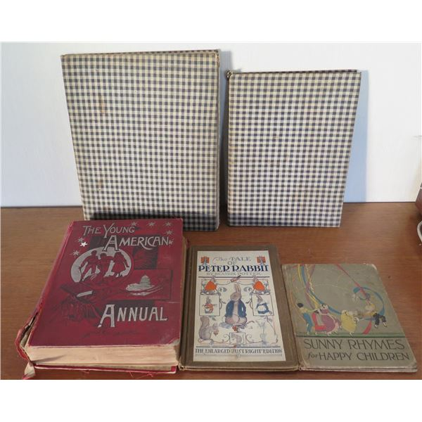 Vintage Books: 'Young American', 'Peter Rabbit', 'Sunny Rhymes', 'Mother Goose'