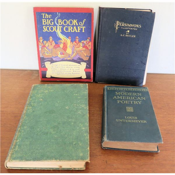 Vintage Books: 'Scout Craft', 'Persimmons Illustrated', 'Modern American Poetry'