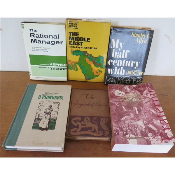 Qty 6 Vintage Books: 'Rational Manager', 'Middle East', 'O Pioneers', NCR, etc