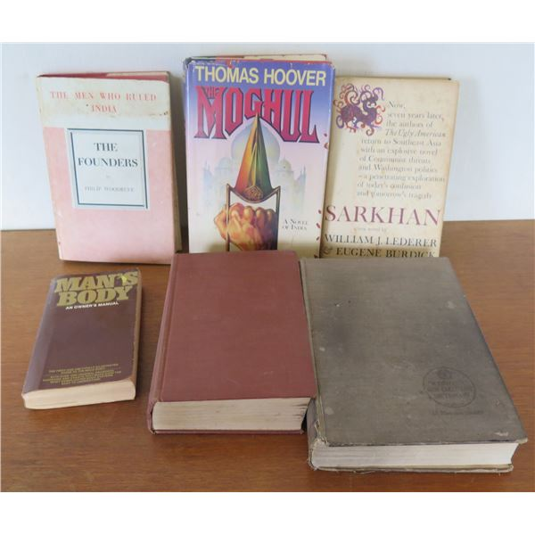 Qty 6 Vintage Books: 'The Founders', 'Man's Body', 'Moghill', 'Sarkhan' etc