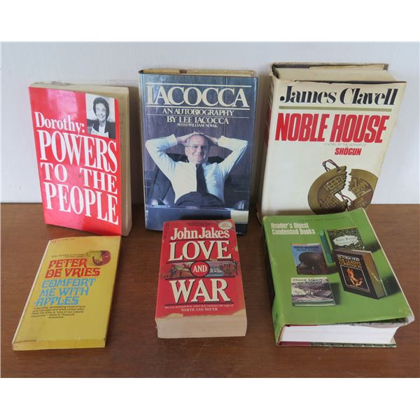 Qty 6 Vintage Books: 'Noble House', 'Iacocca', 'Powers to the People' etc