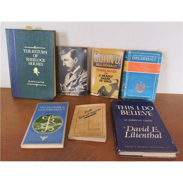 Qty 7 Vintage Books: 'The Invisible Government', 'Return of Sherlock Holmes' etc