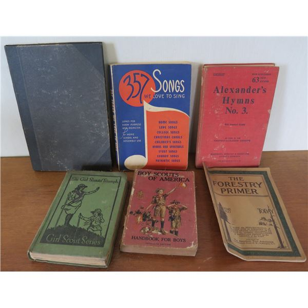 Qty 6 Vintage Books: 'Songs We Love to Sing', 'The Forestry Primer' etc