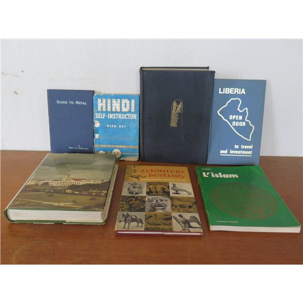 Qty 7 Vintage Books: 'Hindi Self Instructor', 'A Cloisters Bestiary' etc
