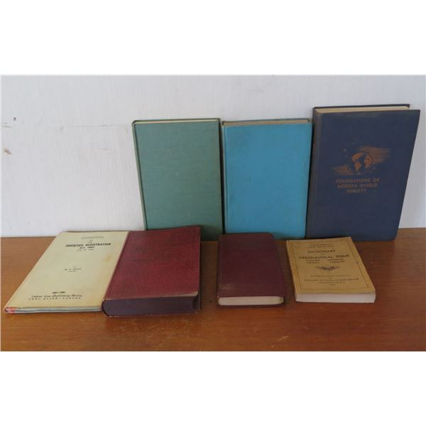 Qty 7 Vintage Books: 'Aeronautical Terms', 'Societies Registration Act' etc