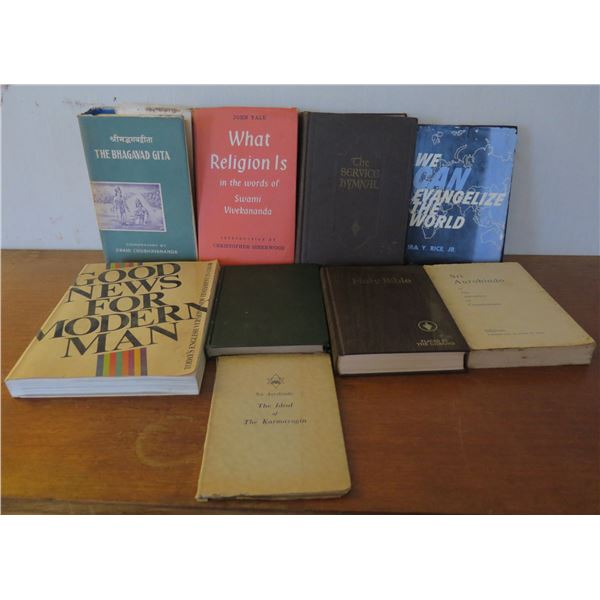 Qty 8 Vintage Books: 'Good News for Modern Man', 'What Religion Is' etc