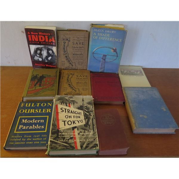 Qty 11 Vintage Books: 'Straight on for Tokyo', 'Modern Parables' etc