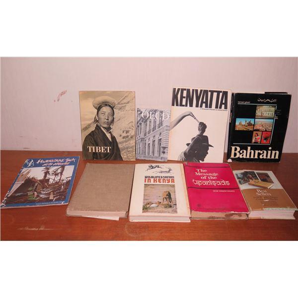 Qty 9 Vintage Books: 'Tibet', 'Kenyatta', 'Hurricane Iwa Hits Hawaii' etc