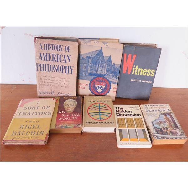 Qty 8 Vintage Books: 'American Philosophy', 'Hidden Dimension', PanAm Guide, etc