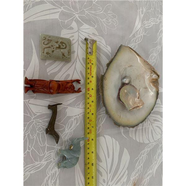 Carved Jadeite or Natural Stone Elephant, Pendant, Small Stretching Budhha, Natural Seashells, Dog