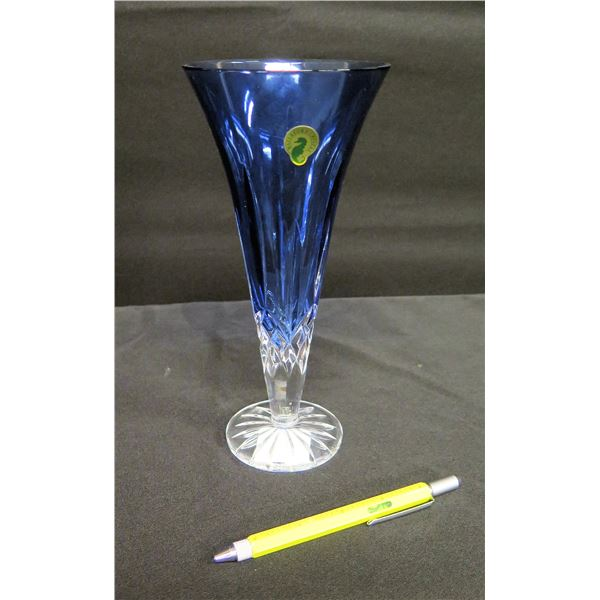 Waterford Crystal Blue Lismore Sapphire Vase on Footed Base 9 H