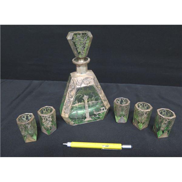 """Venetian-Scene Glass Decanter w/ Stopper & 5 Matching Glasses 9""""H"""