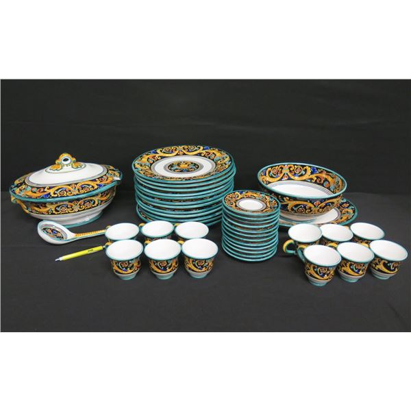 Grazia-Deruta Dishware/Server Set, Made in Italy, Signed Me, Plates, Cups, Soup Tureen, etc