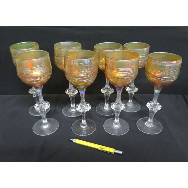 "Qty 8 Irridescent Amber Colored Wine Glasses w/ Swirl Design & Decorative Stem 9.5""H"