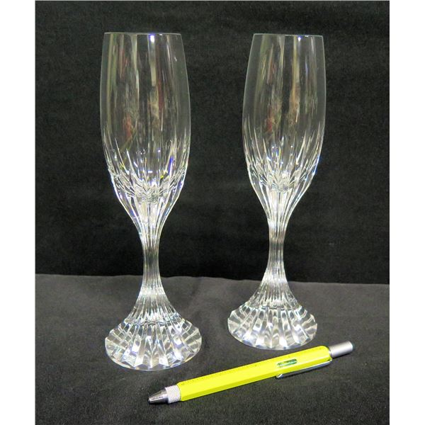 "Qty 2 Champagne Flutes w/ Grooved Pedestal Stem 9""H"